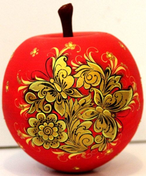 Casket Apple khokhloma with butterfly. Jewelry by nestingdollrus