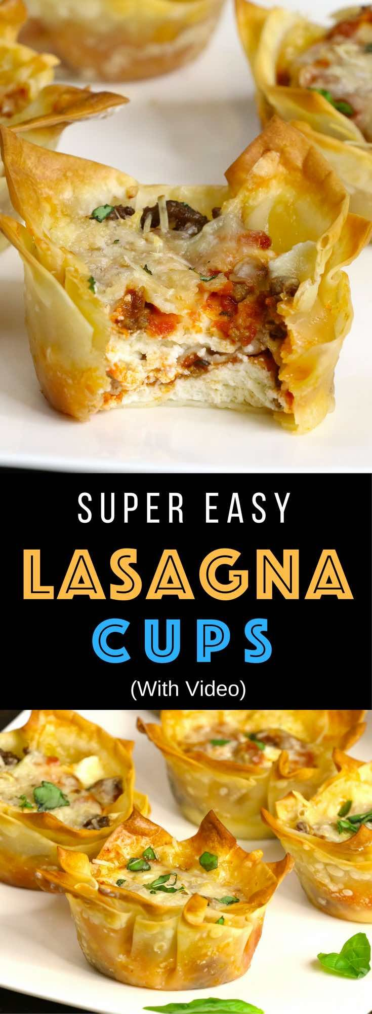 Mini Lasagna Cups: warm, crispy and cheesy handheld lasagna! Cooked ground beef, mozzarella, parmesan, ricotta, and pizza sauce baked inside of wonton wrappers in a muffin tin! The easiest lasagna you will ever make – the perfect snack, lunch or quick weeknight dinner! Quick and easy recipe. Party food, easy dinner. Video recipe. | Tipbuzz.com
