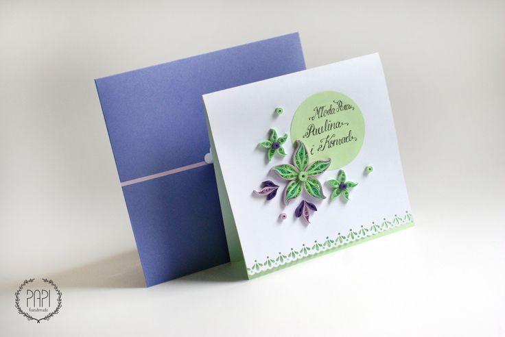 Ręcznie robiona spersonalizowana kartka ślubna z kwiatami quilling handmade Poznań