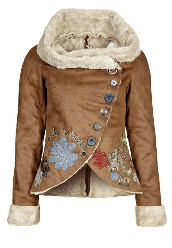 New desigual women's coat embroidery