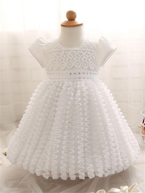 Rendas princesa Crianças Vestidos Para As Meninas Da Criança Primeiro Aniversário Partido Desgaste Véu Grande Arco Branco de Dama de Honra Júnior Vestido de Casamento Do Bebê