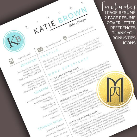 Resume Template and Cover Letter Template   Professional Creative Modern Resume Template   WORD   DIY Printable 4 pk   Instant Download No.3