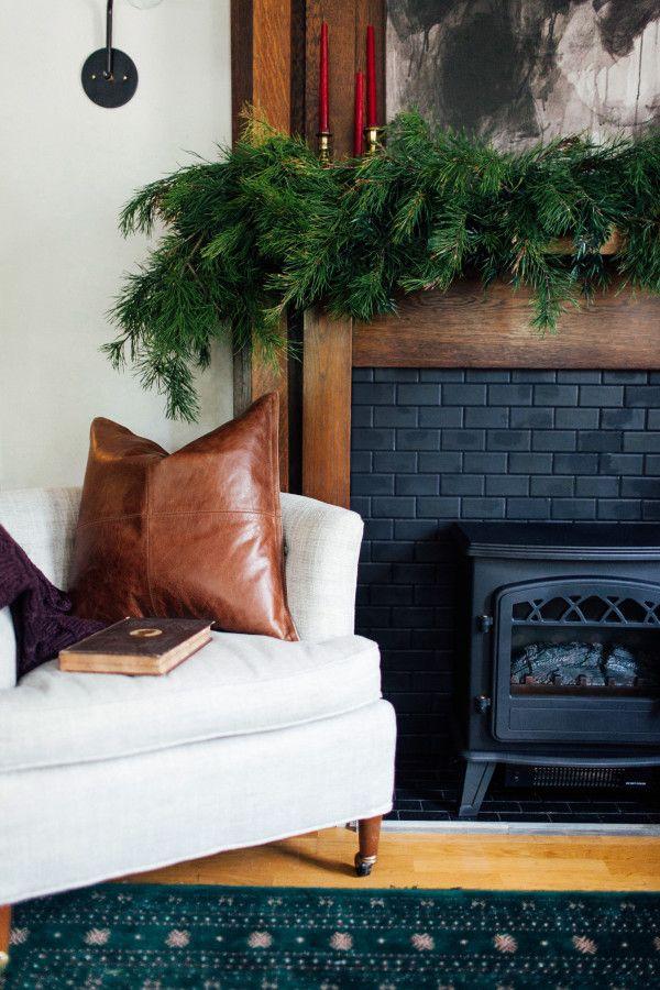 Moody Holiday Mantel and Christmas Decor