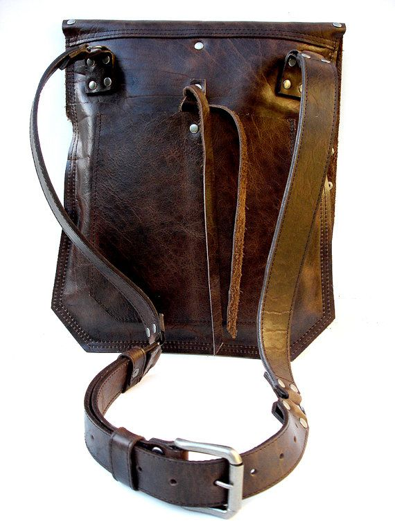 Rustic Brown Leather Messenger Bag with Antique by UrbanHeirlooms