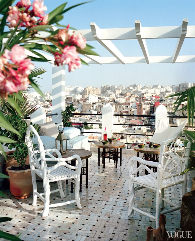 Charming terrace - fashion designer Bruno Frisoni's getaway home in Tangier