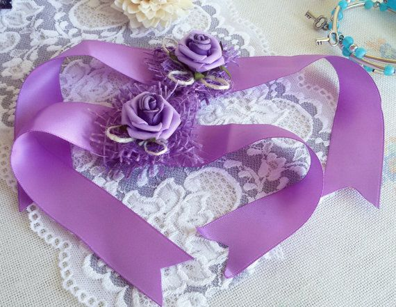Wedding wrist corsage purple wedding corsage satin by Rocreanique