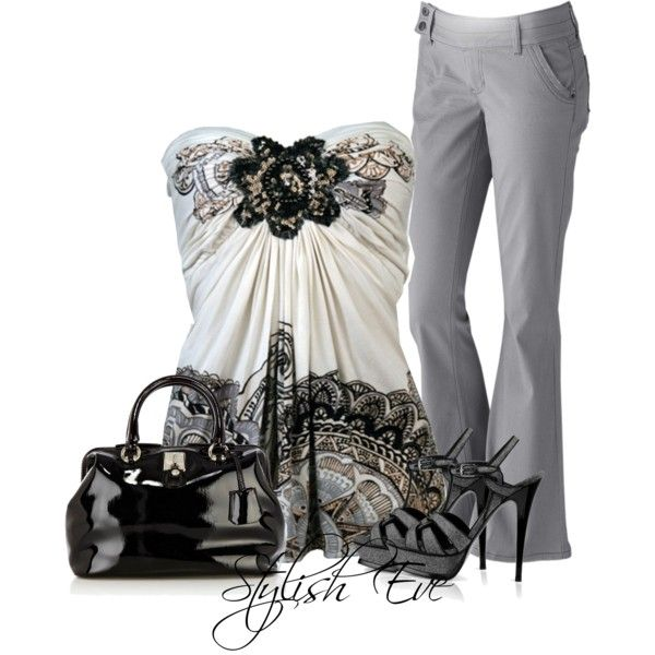 Going strapless and strappy, created on Polyvore
