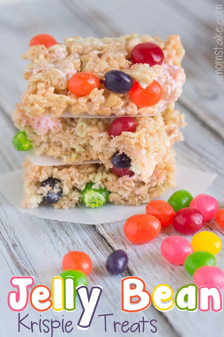 Jelly Bean Rice Krispie Treats super fun for Easter! Like a mini Easter egg hunt right inside the treat! by #amomstake