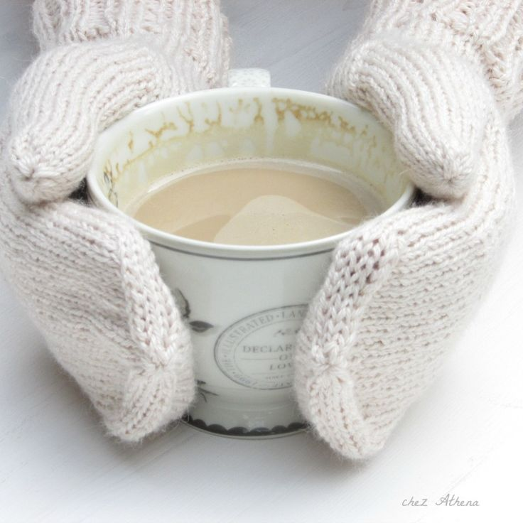 Knitted mittens for winter time - sweet apricot color