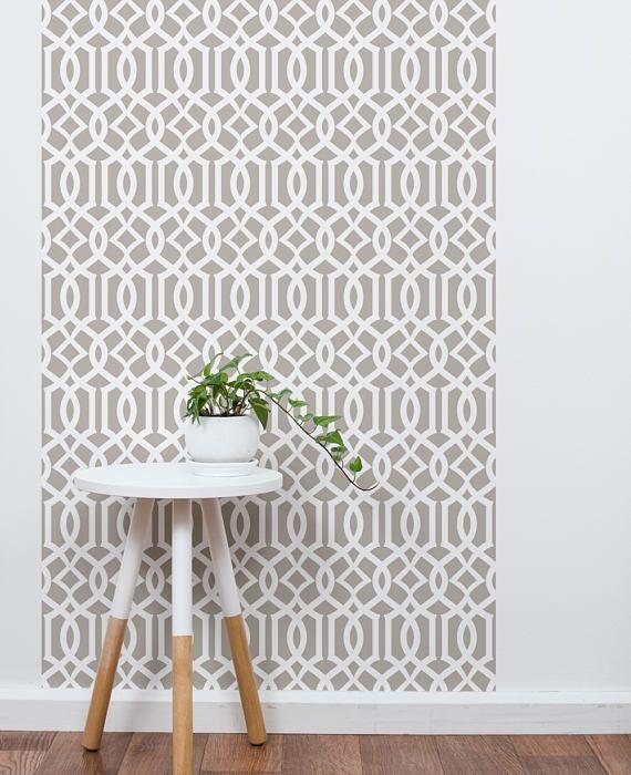 Modern Trellis Dark Warm Grey Peel Stick Fabric Wallpaper Etsy Modern Trellis Trellis Wallpaper Fabric Wallpaper