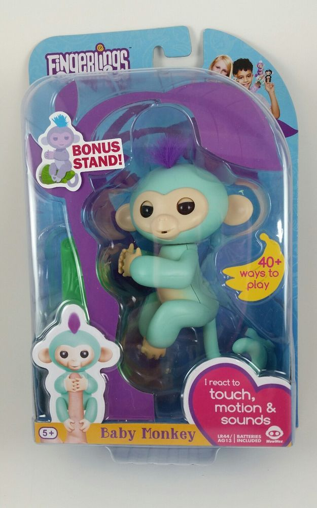 Fingerlings Baby Monkey Teal with Purple Hair Zoe Wow Wee Authentic #WowWee