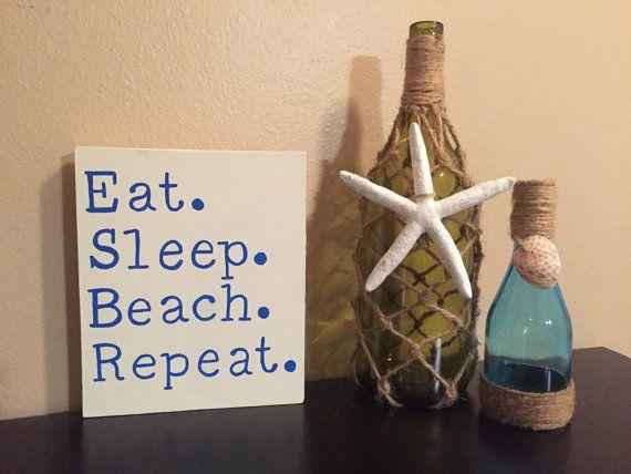 Eat Sleep Beach Repeat, beach sign, wood beach sign, beach decor, summer decor, pool decor, beachy signs, gift idea, PeavyPieces