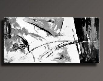 """75"""" pittura astratta pittura grigia bianca nera Extra-Large originale tela arte moderna pittura decorazione della parete - distenderla - 43WB"""