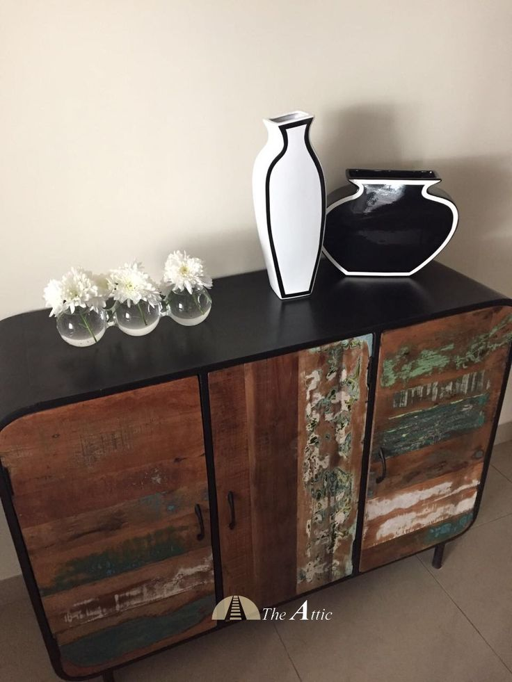 Reclaimed Wood And Black Metal Cabinet Underscores The Retro Accessories  #reclaimed #wood #cabinet