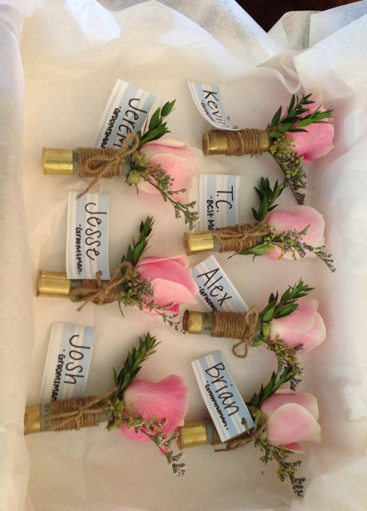 Shotgun shell boutonnière made by friends for a friends wedding