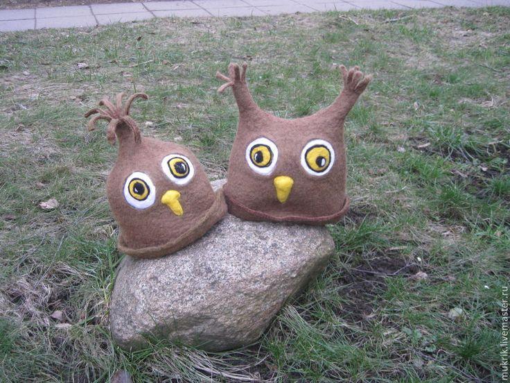 """Шапка для бани и сауны """"Совушки"""" - хаки,шапка для бани,ручная работа handmade"""