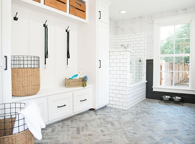 "Designing a doggie spa in this house was a first for Joanna. ""The built-in she…"