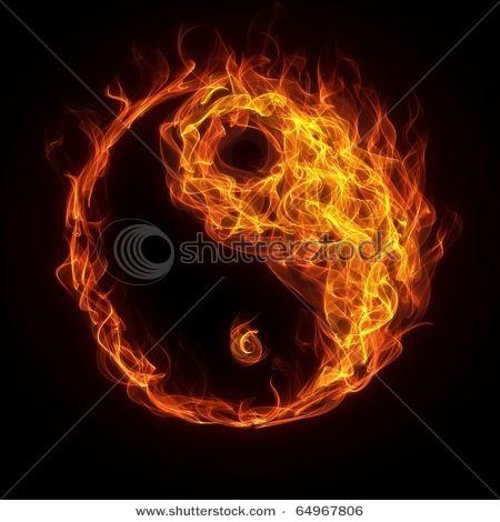 Flaming yen yang sign