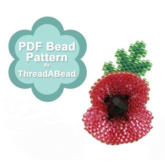 Bead Pattern: Poppy Flower Beaded Brooch by ThreadABead on Etsy