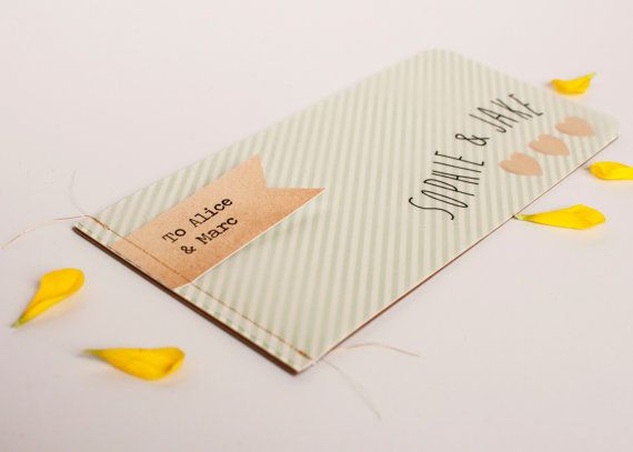 Wedding invitation booklet - stitched mint stripe by norma&dorothy. A delicate and intricate wedding invitation with a lovely handcrafted feel.