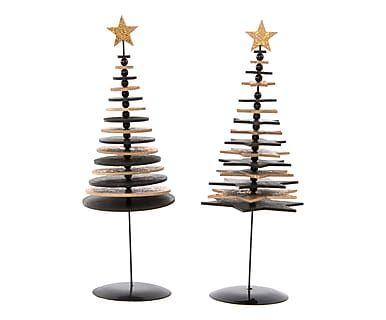 Set di 2 alberelli stilizzati in legno naturale, nero e oro ass., d 11/h 28 cm