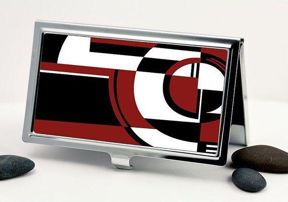 Red Jazz Business Card Holder – Art Deco Jazz Tray Design Credit Card Holder – Business Card Case –