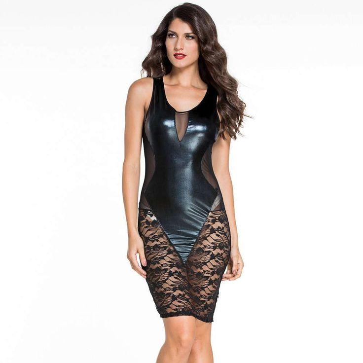 #D21644 Black Faux Leather Floral Lace Mesh Little Black Club Dress