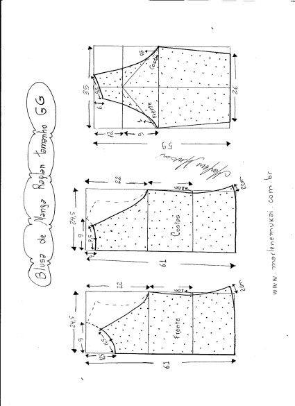 Blusa manga Raglan. Uma blusinha ótima para aproveitar tecido como este modelinho do Ali Babá. Segue esquemas de modelagem do 36 ao 56.