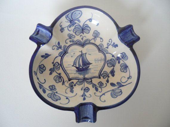 Villeroy and Boch rare art deco porcelain ashtray,Lübeck serials with Flandern pattern,handmade porcelain ashtray,1910 ashtray,handpainted
