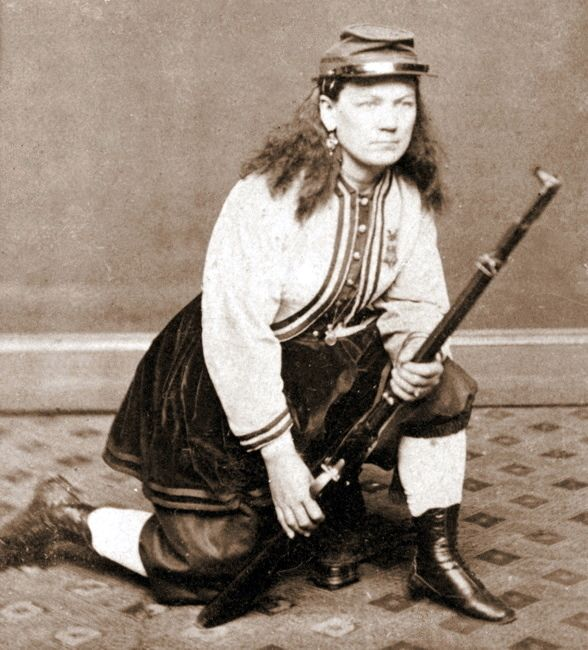 Kady Brownell (1842 – January 14, 1915) was a vivandière who helped the Union army during the American Civil War. She went with her husband when he joined a Rhode Island regiment. Kady trained with the soldiers. She fought in battle and helped the injured. At the First Battle of Bull Run, she held the flag high even as Confederate bullets were flying