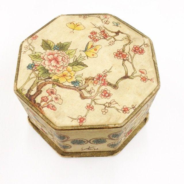 Lovely vintage printed silk dresser box.