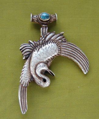 Серебряная подвеска с бирюзой Журавль