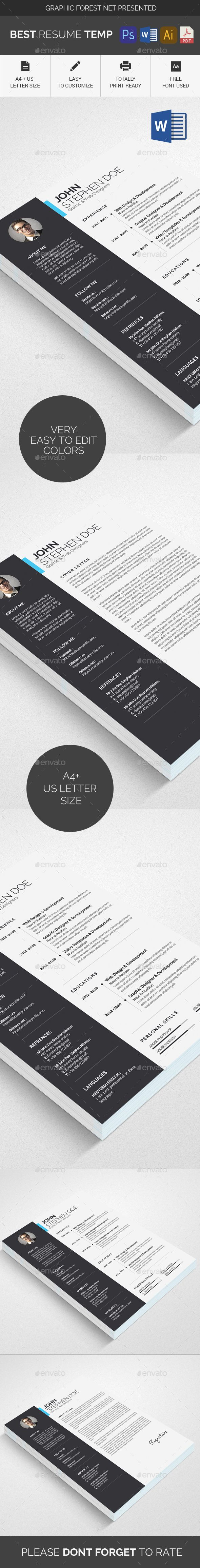 Resume Template #infographic #elegant  • Download here → https://graphicriver.net/item/resume-template/21292978?ref=pxcr