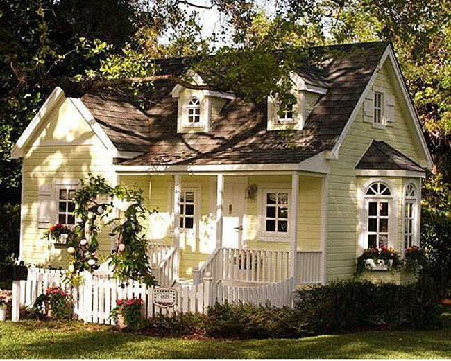 Precious little cottage- add blue shutters, window boxes with pink flowers, pink rose trellis entry gate and... sigh...