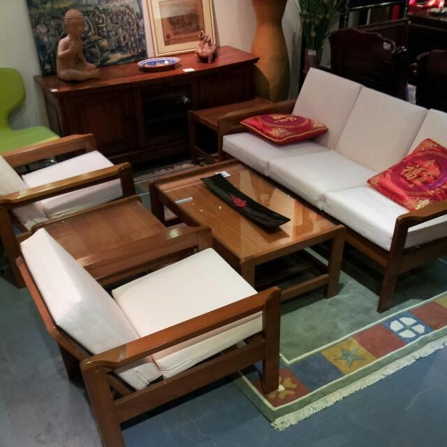 Wooden Sofa Set With Cushion Seats for $480 on Carousell
