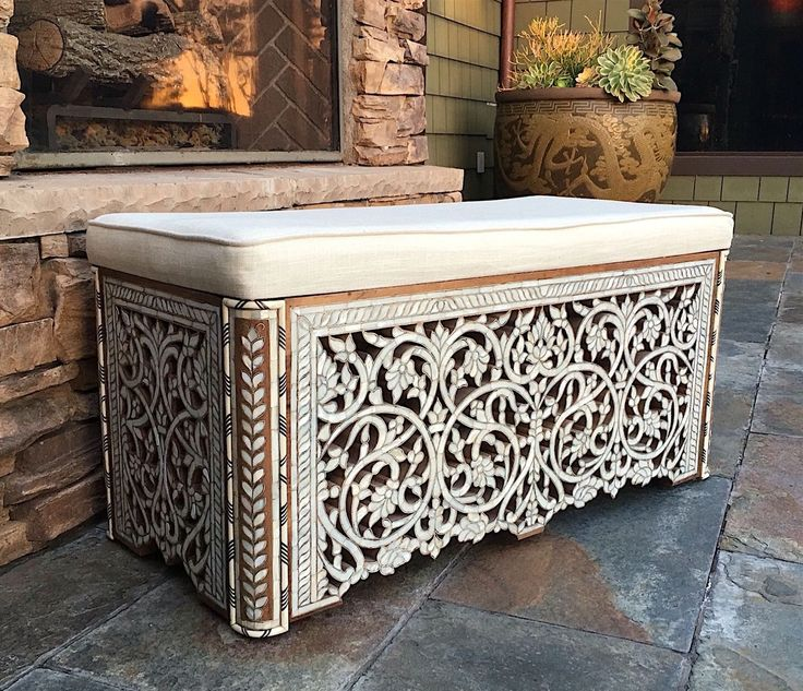 A Syrian mother of pearl bench available to purchase at Alkhayatfaf.com
