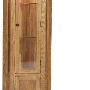 Tall Oak Corner Display Cabinet