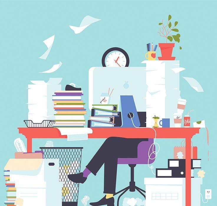 Messy Office Kitchen: Illustration, Illustration