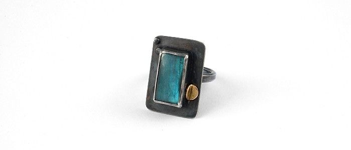 ring - sterling silver, labradorite, 8k gold
