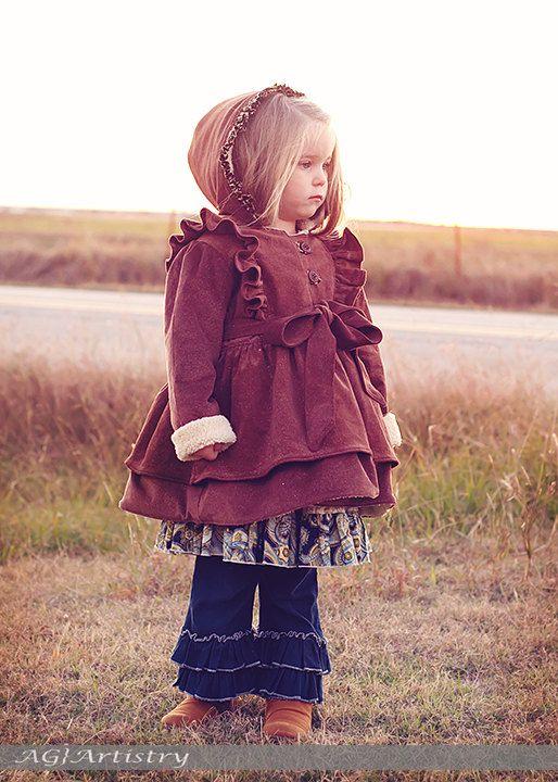 SALE..Buy 2 get 1 Free..Instant Download PDF Sewing Pattern Secret Garden Girls Coat Jacket Hood or Collar 6-9m to 8