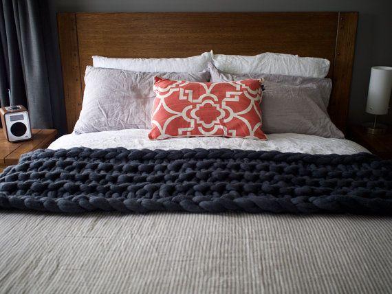 Chunky Merino Blanket  Bed Runner  Chunky by AbbyStClaireBlankets