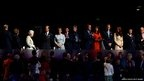 Prince Edward, Earl of Wessex, Sophie, Countess of Wessex, LOCOG chairman Lord Sebastian Coe, British Prime Minister David Cameron,Samantha Cameron, Prince William, Duke of Cambridge, Catherine, Duchess of Cambridge, Princess Anne, Princess Royal and London Mayor Boris Johnson stand for Queen Elizabeth II