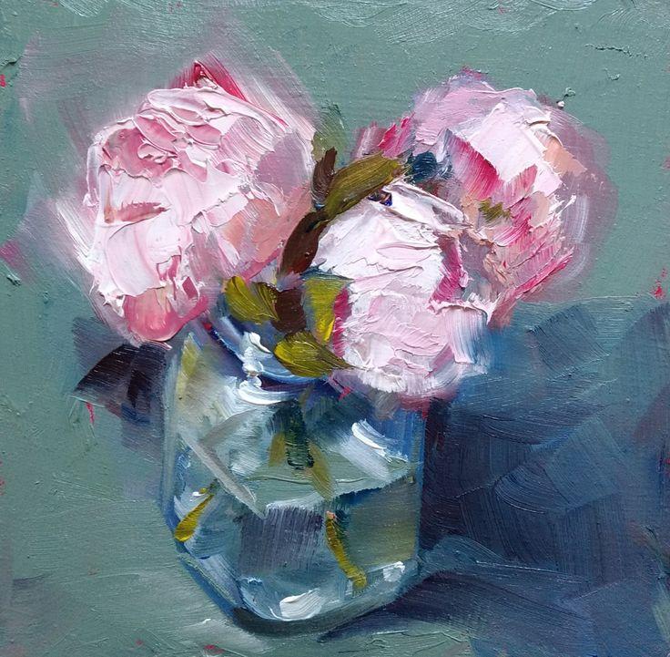 "Mini oil painting ""Pink Peonies"""