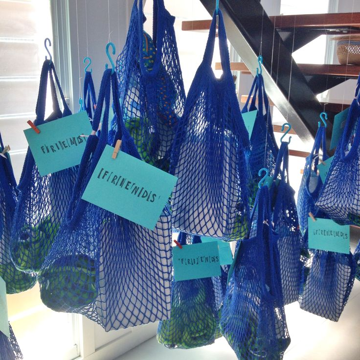 Guest Gift Bags Hanging From The Stairs Like Fishing Nets