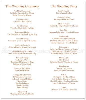 What Do I Include In A Ceremony Program? | Weddings, Etiquette And Advice,