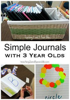Are you wondering how to do journals with 3 year olds? We keep it real simple, with lots of fine motor and literacy activities. Our young preschoolers love them! From Teaching 2 and 3 Year Olds