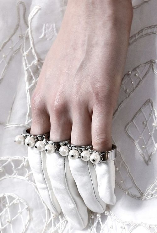 white  finger gloves from Alexander McQueen AW13 - pinned by RokStarroad.com ~ unleash your inner RokStar - fashion, pop and mental health