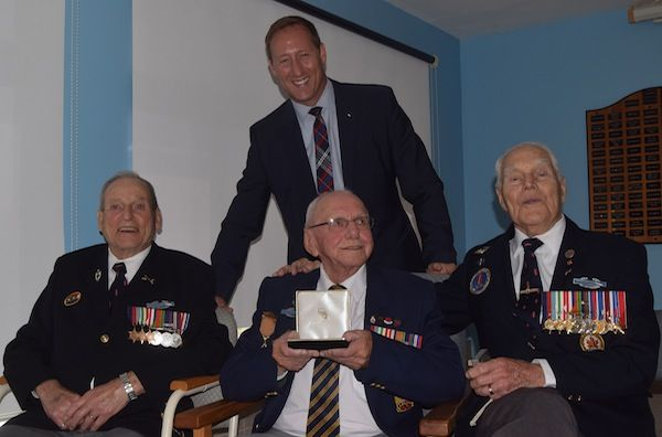 Central Nova MP and former defence minister Peter MacKay was on hand to present Gordon MacDougall (centre) with the Congessional Gold Medal, awarded by the U.S. congress in recognition of the First Special Service Force. Flanking the honouree are Vernon Doucette, left, and Herb Peppard. All three men were part of the First Special Forces, seeing action in the Second World War.