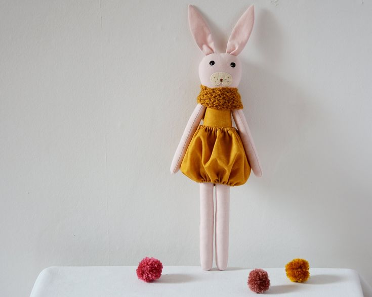 This beautiful pink and yellow bunny rabbit doll is a perfect gift for children!It's handmade with care and carries a CE certificate.Its bunny face has been hand painted with non-toxic non-...