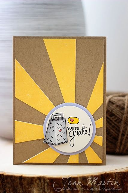 handcrafted greeting card by Stampin Scrapper ... die cut starburst ... looks great in golden yellow on kraft background ... cheese grater in circle and the sunburst center ... punny statement: You're Great! ... great card!! ... Newton's Nook Designs
